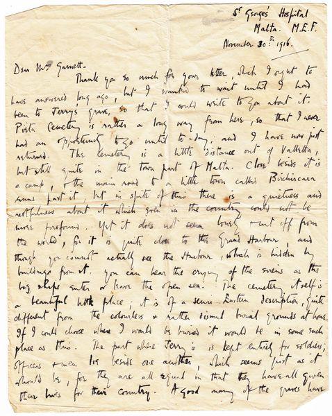 Letter: To Mrs Garnett