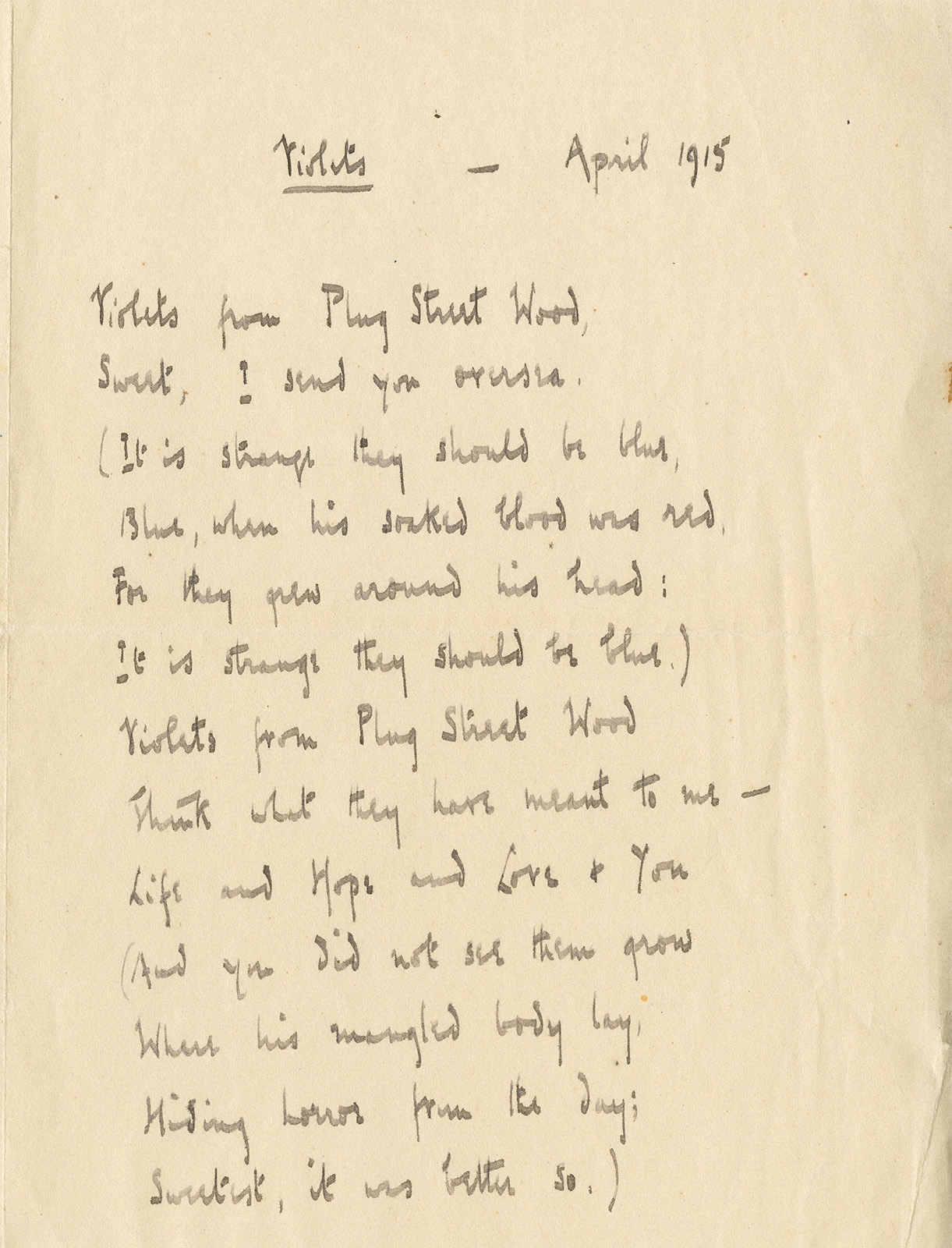 """first world war poetry dissertation The war each chapter discusses one author and three of her poems, and puts   (""""gender politics""""), in women's writing of the first world war."""