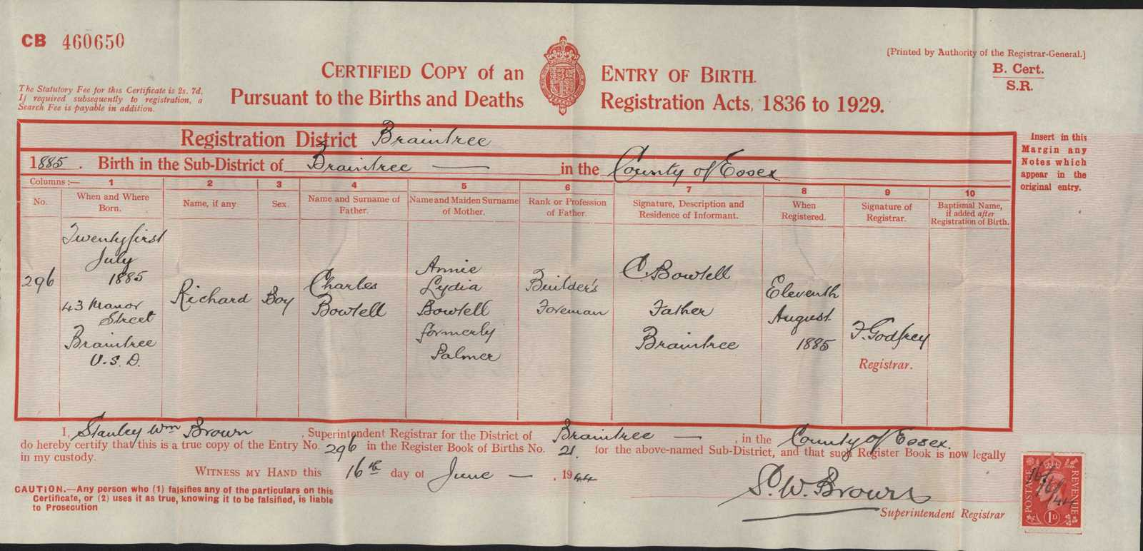 Copy birth certificate richard bowtell first world war poetry title copy birth certificate richard bowtell aiddatafo Images