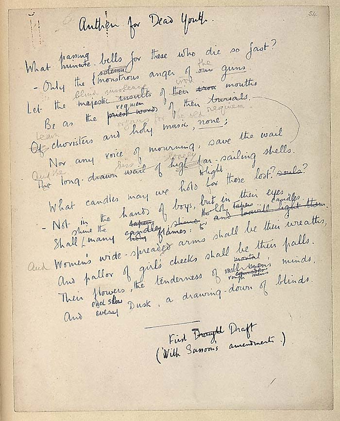 Anthem For Doomed Youth By Wilfred Owen Manuscript Variant