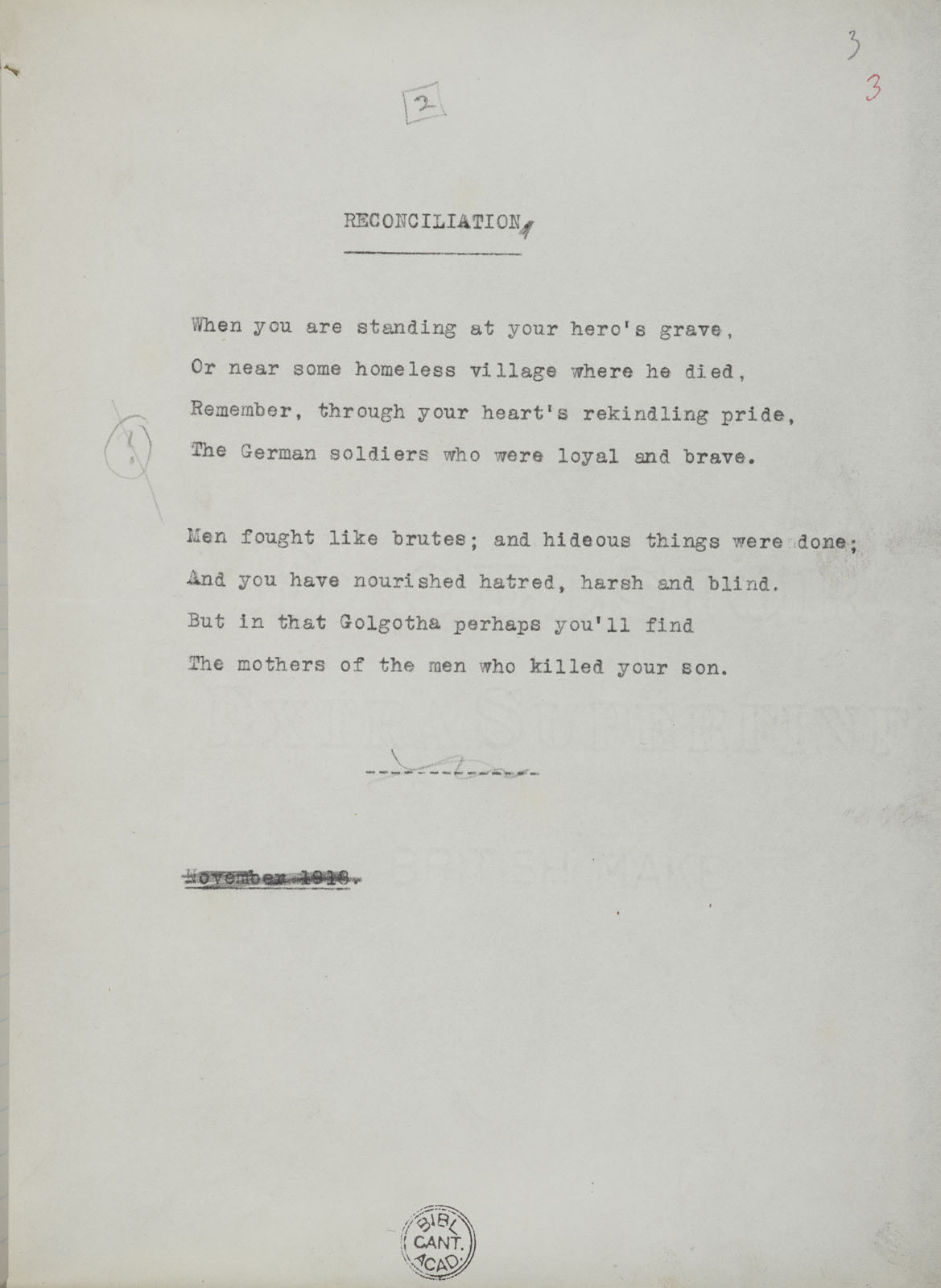 Reconciliation | First World War Poetry Digital Archive